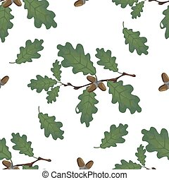 Green branches of oak with acorns and leaves. Seamless. Volumetric drawing without a grid and a gradient. Isolated on white background. illustration