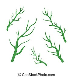 Green Branches vector hand drawn illustration. Icons on transparent background