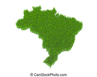 brasil nation map with grass - green brasil nation map with...