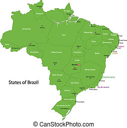 Green Brasilia map with regions and cities
