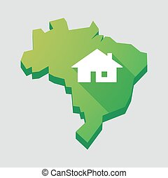 Green Brazil map with a house