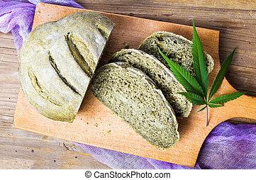 Green bread with marijuana on a tray