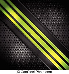 Green bright stripes on perforated background
