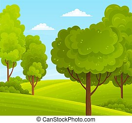 Green bright trees with a lush crown, thick brown trunk and branches in a natural hills landscape