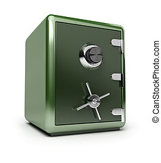 Green brilliant safe. 3d image. Isolated white background.