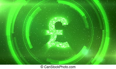 Green British pound currency symbol on space background with circles. Seamless loop.