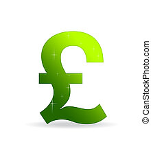 High resolution gree British pound sign standing with stars.