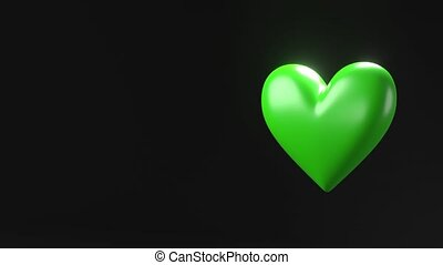 Green broken heart objects in black text space. Heart shape object shattered into pieces.