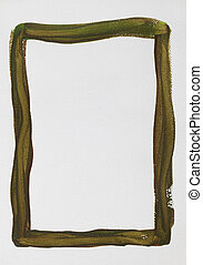 green brown  frame painted on white canvas