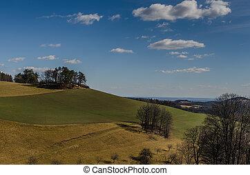 green brown hills landscape