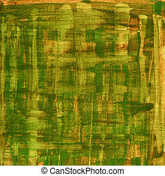 green, brown, yellow watercolor abstract with canvas texture