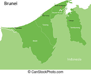 Green Brunei map - Brunei map with provinces and capital...