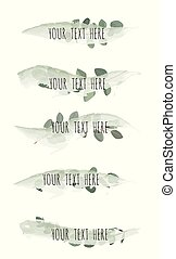 Green brush stroke with leaves isolated on white background, Vector illustration.