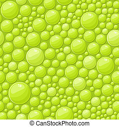 Green Bubbles Seamless Background with Shiny Soap Drops
