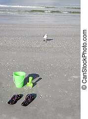 Green Bucket and Sandals