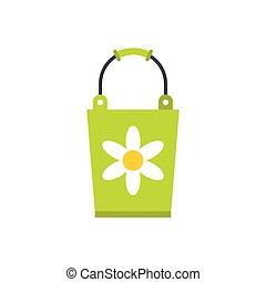 Green bucket icon, flat style