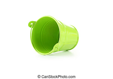 Green bucket isolated on white