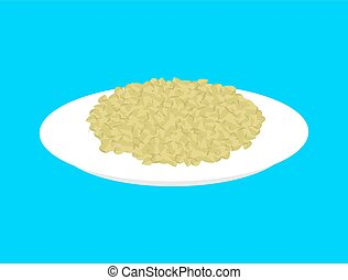 Green buckwheat cereal in plate isolated. Healthy food for breakfast. Vector illustration