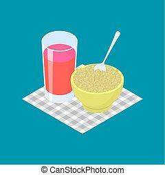Green buckwheat Porridge and fruit juice. Breakfast Healthy food. Vector illustration
