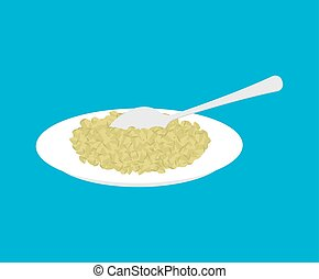 Green buckwheat Porridge in plate and spoon isolated. Healthy food for breakfast. Vector illustration