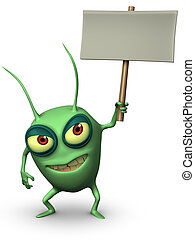 green bug holding placard
