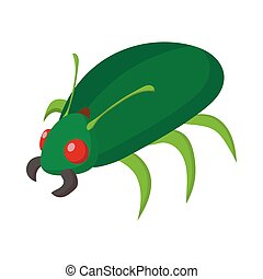 Green bug icon, cartoon style