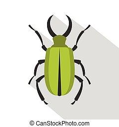 Green bug icon, flat style