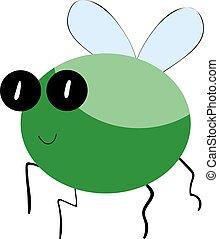 Green bug, illustration, vector on white background.