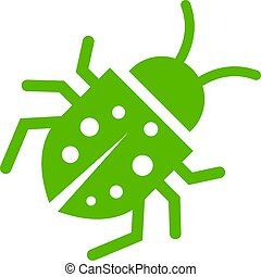 Green bug vector icon on white background