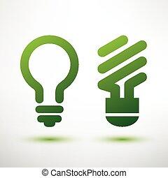green bulb icons set