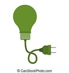 green bulb light with plug