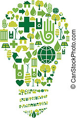 Green bulb silhouette made with environmental icons set.