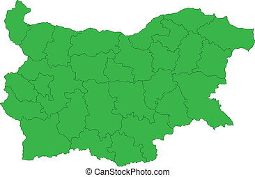 Green Bulgaria map - Map of administrative divisions of...
