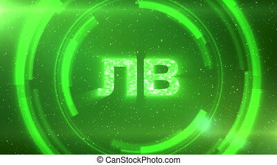 Green Bulgarian currency symbol on space background with circles. Seamless loop.