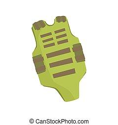Green bulletproof vest cartoon vector Illustration