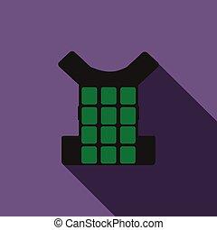 Green bulletproof vest icon, flat style