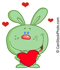 Green Bunny Holding A Red Heart