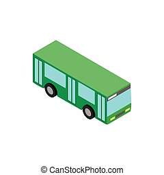 Green bus icon, isometric 3d style
