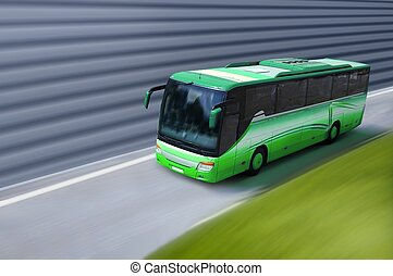 green bus on road