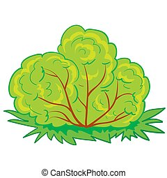 green bush, cartoon illustration, isolated object on a white background, vector illustration,