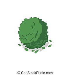 Green bush isolated vector icon