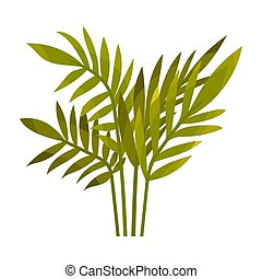 Green bush of leaves. Vector illustration on a white background.