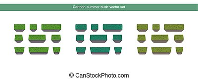 Green bush vector set