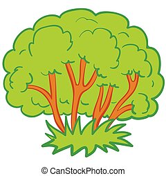 green bush with brown branches, isolated object on a white background, vector illustration,