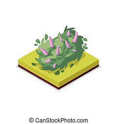 Green bush with flowers isometric 3D icon
