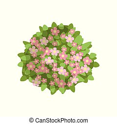 Green bush with pink flowers, landscape design element, top view vector Illustration on a white background