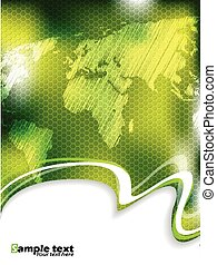 Green business brochure with hexagon pattern