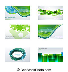 Green business cards - Vector set with different green...