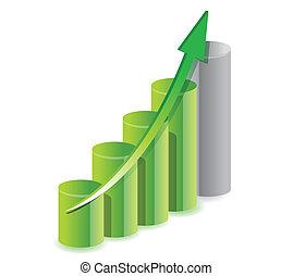 green business graph illustration over white
