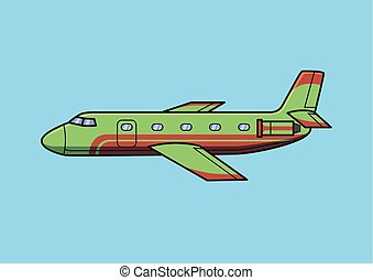 Green business jet aircraft, airplane. Flat vector illustration. Isolated on blue background